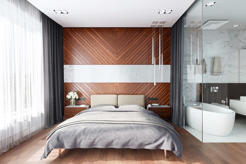 Còn nếu bạn là người mạnh mẽ, yêu thích sự phóng khoáng và chắc chắn thì phòng ngủ có bức tường đầu giường bằng gỗ này là lựa chọn dành cho bạn.