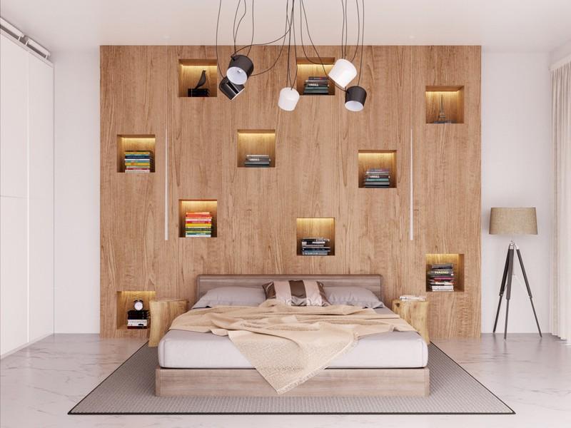 Tủ lưu trữ được thiết kế ẩn vào tường bù đắp cho việc thiếu hụt không gian