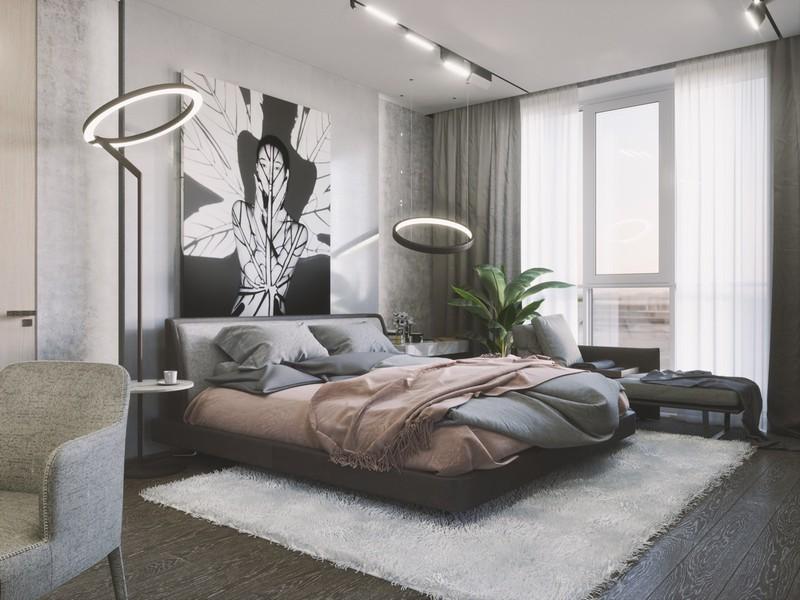 Ngay cả một chiếc giường màu trung tính cũng có thể trông thú vị nếu bạn kết hợp hai màu sắc khác nhau