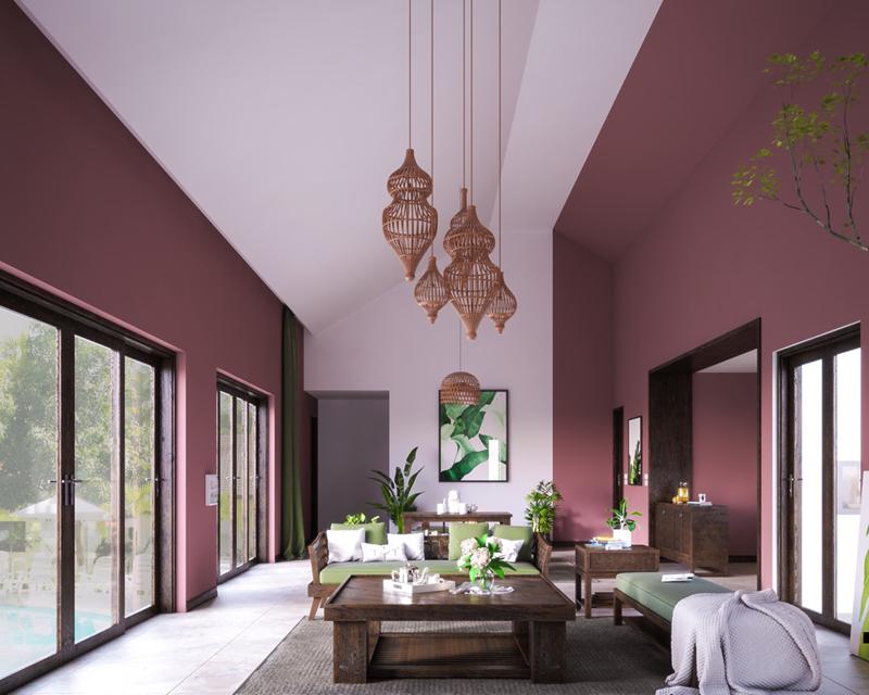 Phòng khách màu hồng sẫm tạo điểm nhấn bằng một dải tường màu trắng ở giữa.