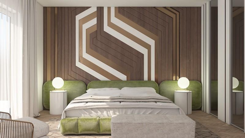 Bức tường đầu giường mang đậm dấu ấn cá nhân, đồng thời thể hiện gu thẩm mỹ tinh tế của người sở hữu