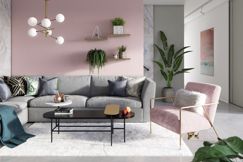 Cách trang trí và chọn màu sắc khiến phòng khách trở nên ngọt ngào và không kém phần hiện đại.