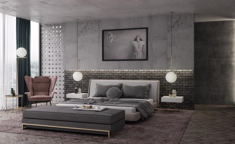 Phòng ngủ mang phong cách công nghiệp tràn ngập ánh sáng tự nhiên