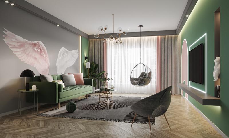 Hồng, xám, xanh giúp phòng khách trở nên sinh động hơn hẳn.