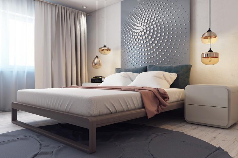 Các vòng tròn đồng tâm xoáy trên đầu giường tạo dấu ấn rất riêng cho căn phòng