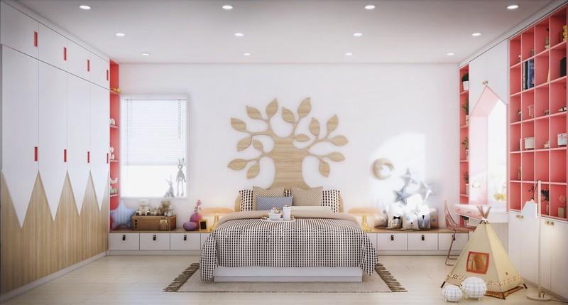 Trên đầu của chiếc giường có hình cây màu vân gỗ vàng sẽ tạo nên sự khác lạ khi trang trí phòng ngủ cho con bạn.
