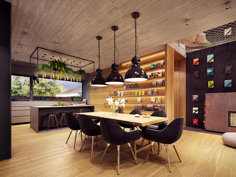 Phòng ăn mang phong cách hiện đại với trần nhà, bàn, ghế đều làm từ gỗ công nghiệp. Những chiếc đèn màu đen từ trên trần nhà rủ xuống góp phần tỏa sáng, làm cho căn phòng trở nên ấm áp hơn.