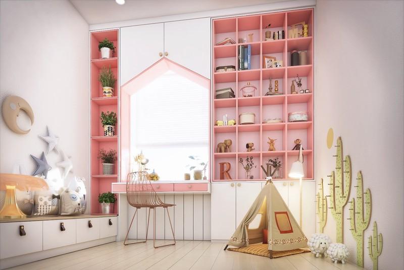 Phòng của trẻ mang phong cách hiện đại, nổi bật là chiếc giá để đồ dùng, cây cảnh màu hồng. Với cách trang trí các đồ vật và phối màu ấn tượng, bạn sẽ khiến cho trẻ cảm thấy thích thú với căn phòng.
