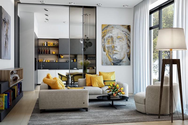 Phòng khách mang phong cách hiện đại. Màu vàng của những bông hoa, chiếc gối đã tô điểm hơn cho căn phòng.