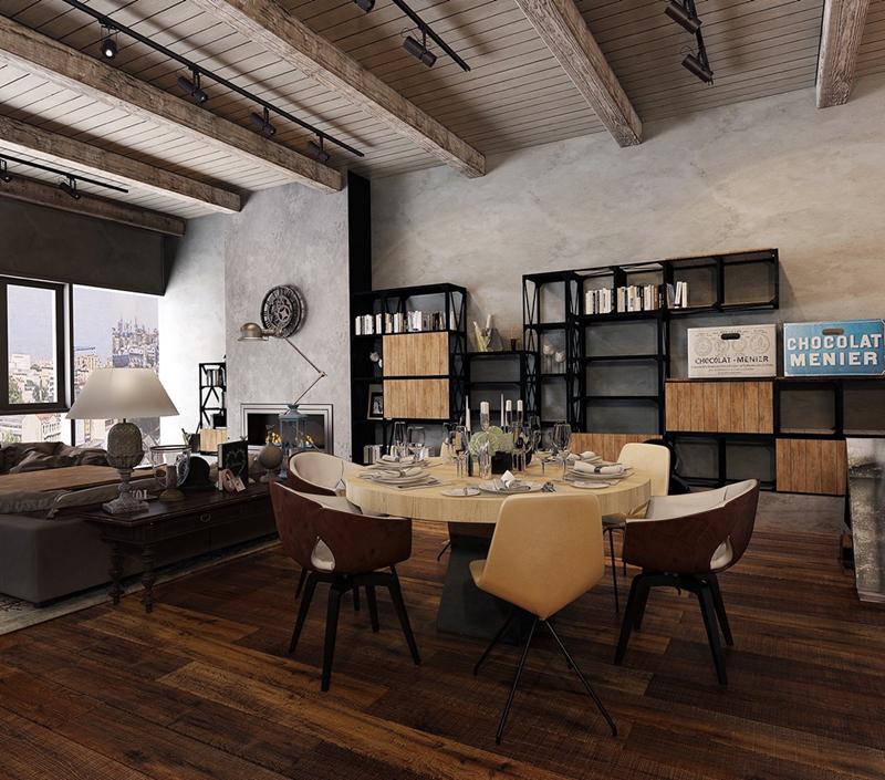 Chiếc giá sách làm bằng sắt màu đen được kê trong phòng ăn này cũng là một cách bài trí độc đáo.