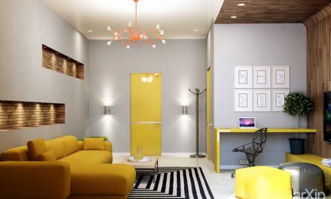 Phòng khách có nội thất màu vàng mang lại cảm giác ấm áp