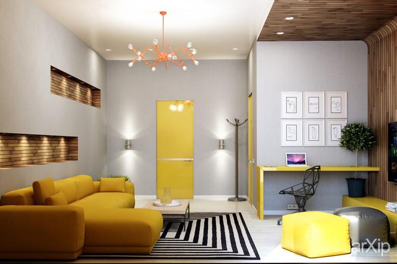 Căn phòng trở nên sáng sủa hơn với bộ bàn ghế sofa và một số vật dụng khác màu vàng chanh.