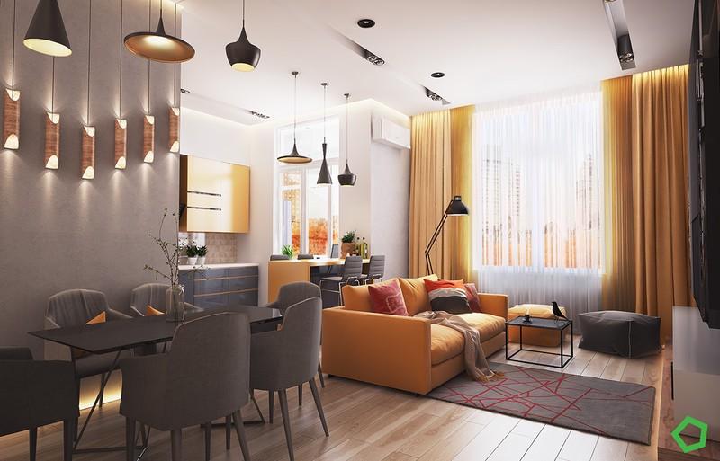 Khung cảnh của phòng khách trở nên ấm áp hơn dưới ánh đèn màu vàng.