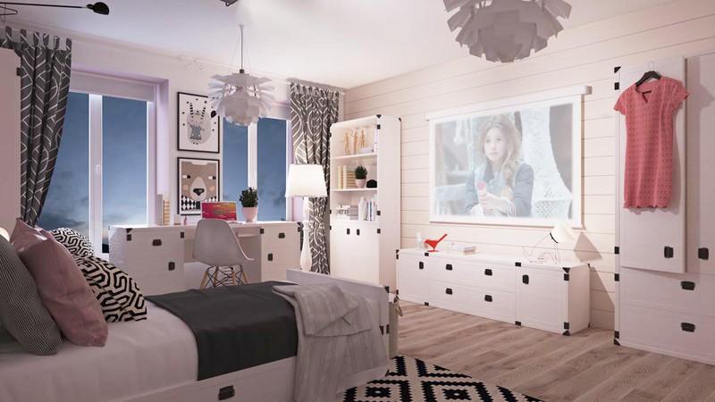 Giường, tủ, bàn, ghế đều là màu trắng góp phần làm cho căn phòng trở nên sáng sủa hơn.
