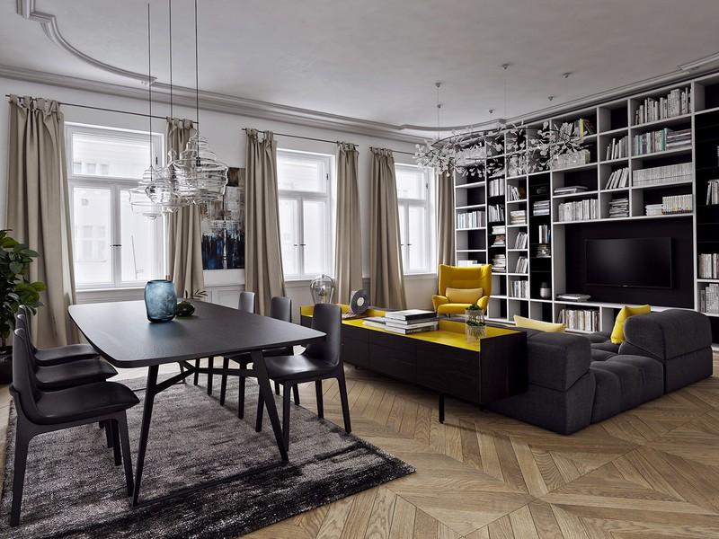 Bộ bàn ghế sofa có ghế, mặt bàn màu vàng chanh đã góp phần tô điểm cho căn phòng có các vật dụng với màu sắc tương phản.