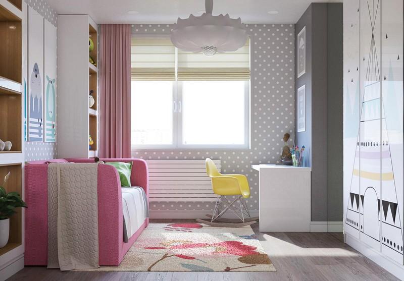 Phòng của trẻ có thể kê một ghế sofa dài màu hồng, vừa giúp con bạn ngồi và nằm ngủ ở đó được.