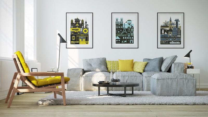 Những bức tranh tô điểm cho phòng khách sáng sủa.