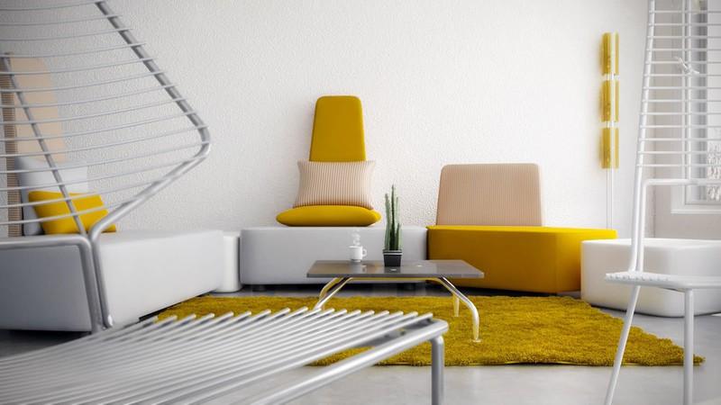 Phòng khách nổi bật với chiếc thảm trải sàn nhà và ghế sofa màu vàng.