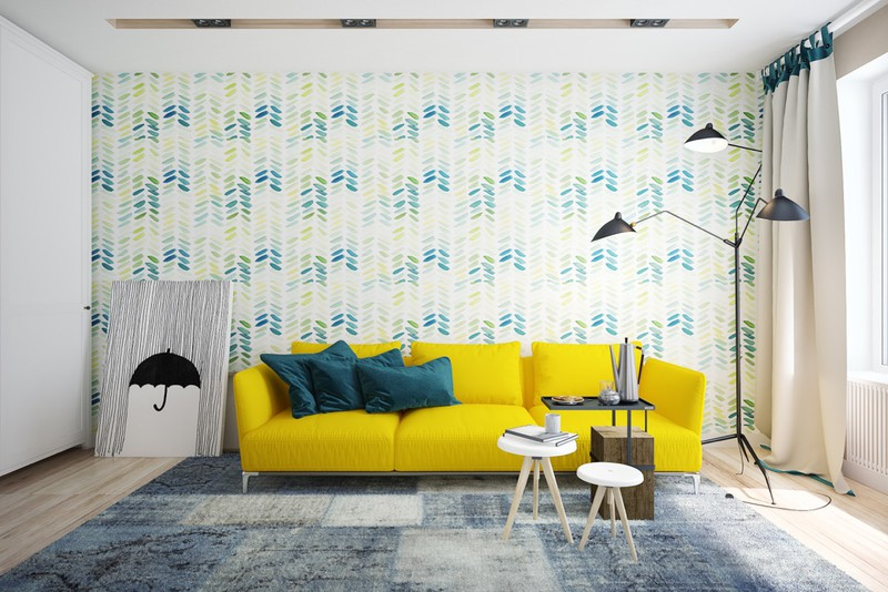 Phòng khách có ít vật dụng, nổi bật là chiếc ghế sofa màu vàng chanh.