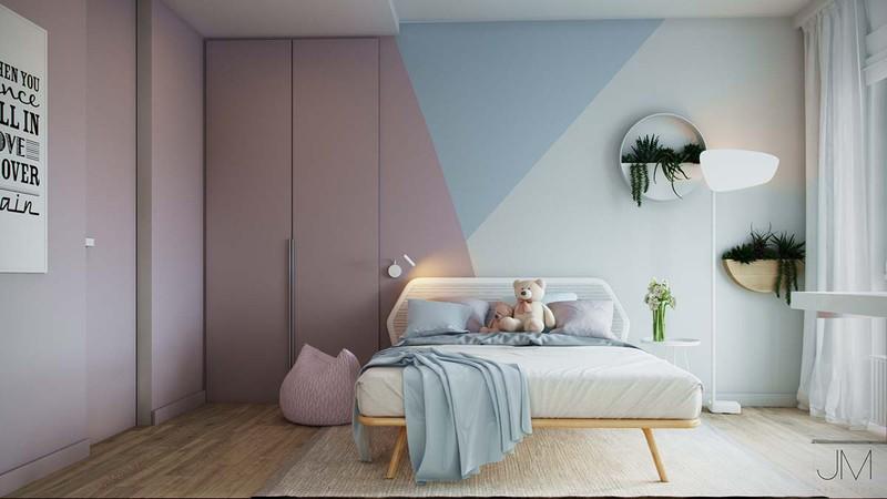 Không gian căn phòng trở nên ấm áp, thoáng mát hơn khi có sự phối kết hợp các màu sắc: hồng, xanh, trắng đan xen.