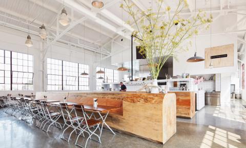 Những thân cây lớn được tạo thành quầy bar và băng ghế độc đáo trong nhà hàng ở San Francisco