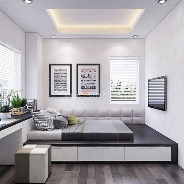 Các tone màu trầm cùng thiết kế tối giản mang đến cho không gian sự thoáng đãng