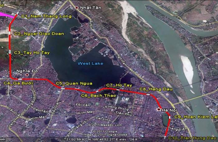 Sơ đồ tuyến metro số 2 đoạn Nam Thăng Long - Trần Hưng Đạo