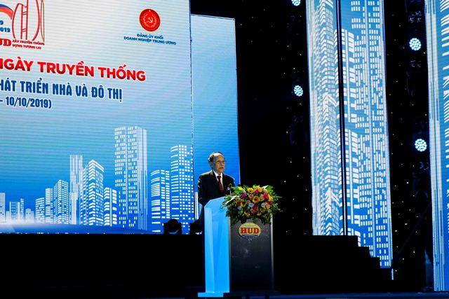 Anh Hùng Lao động Nguyễn Hiệp - nguyên Chủ tịch HĐTV TCty HUD phát biểu tại buổi Lễ