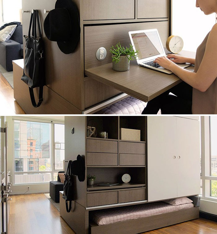 Căn hộ nhỏ với hệ thống mô-đun nhỏ gọn cực hợp mắt được thiết kế bởi MIT Media Lab hợp tác với nhà thiết kế Yves Béhar. Thiết kế này đem lại sự kết hợp giữa đồ nội thất giấu giường và có tủ ở cạnh bên, có thể tạo văn phòng làm việc tại nhà khi cần.
