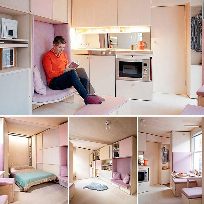 Ngôi nhà nhỏ bé này chỉ rộng 13m2 nhưng mang đến những trải nghiệm đầy đủ của một ngôi nhà ở thực sự. Phong cách trang trí ấm cúng đem đến giải pháp kiến trúc rất thông minh để mở rộng cảm giác về không gian, cách phối màu sáng, đồ nội thất có thể di chuyển kết hợp và đa mục đích. Trong ngôi nhà nhỏ này không có không gian đặt một chiếc ghế sofa thực sự nên các nhà thiết kế đã khéo léo bọc bằng vải mềm, tạo góc đọc sách ấm cúng. Giải pháp sofa mini này là lựa chọn quá đỗi tuyệt vời cho không gian này.