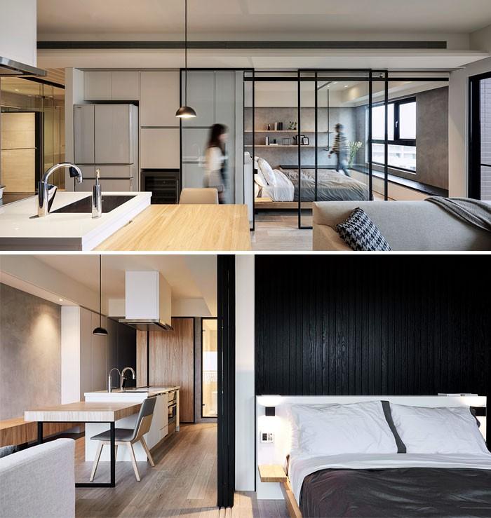 Các nhà thiết kế từ INDOT đã tạo cho căn hộ nhỏ này một nét đặc trưng cho phong cách thiết kế tối giản theo phong cách châu Á. Các vật liệu tự nhiên như gỗ và kim loại chiếm ưu thế trong thành phần vật liệu, kết cấu bằng gỗ ấm áp của sàn nhà cùng điểm nhấn ấn tượng của các bức tường và khung sơn đen. 3 cửa trượt bằng kính ngăn cách góc ngủ với phần còn lại, đem lại sự năng động cho căn hộ nhỏ.