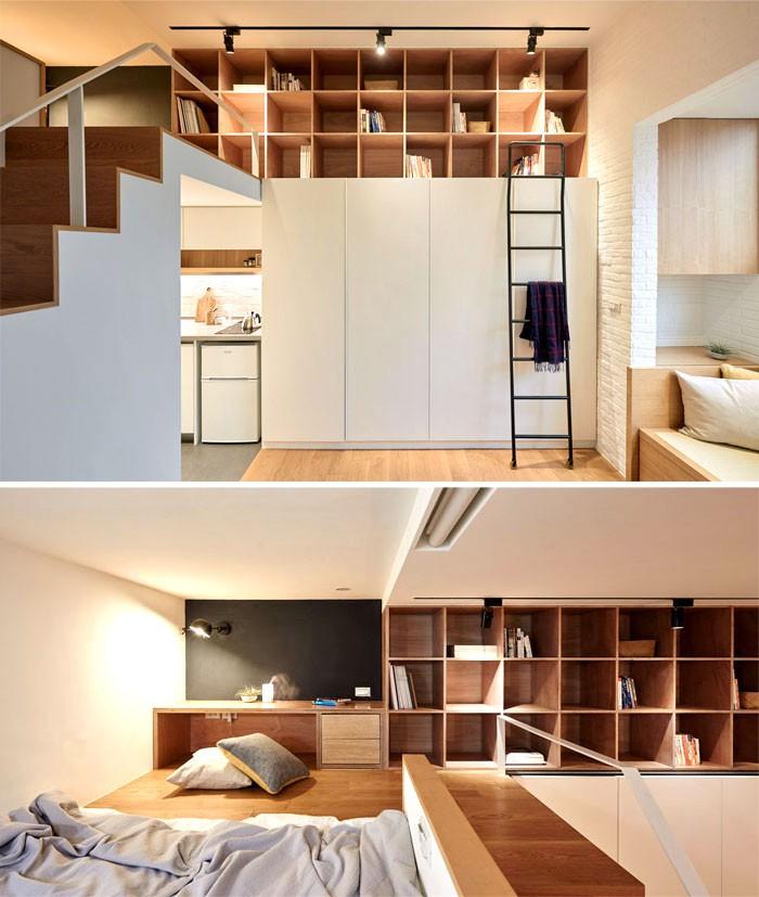 Thiết kế của studio A Little Design đến từ Đài Loan giúp tối ưu hóa căn hộ siêu nhỏ rộng 22m2. Tầng lửng của căn hộ được sử dụng hết cỡ với cầu thang dẫn đến bệ giường, giá sách và các ngăn lưu trữ tô điểm cho các bức tường, một bàn làm việc siêu nhỏ được bài trí rất duyên dáng trong không gian này.