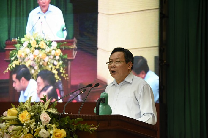 Trưởng Ban Tuyên giáo Thành ủy Hà Nội Nguyễn Văn Phong trình bày Nghị quyết 26 của Thành ủy về quản lý nhà chung cư