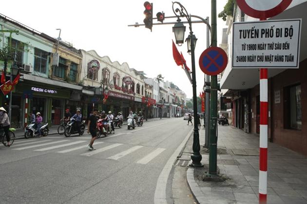 Hiện nay các tuyến phố đi bộ cấm phương tiện giao thông những ngày cuối tuần