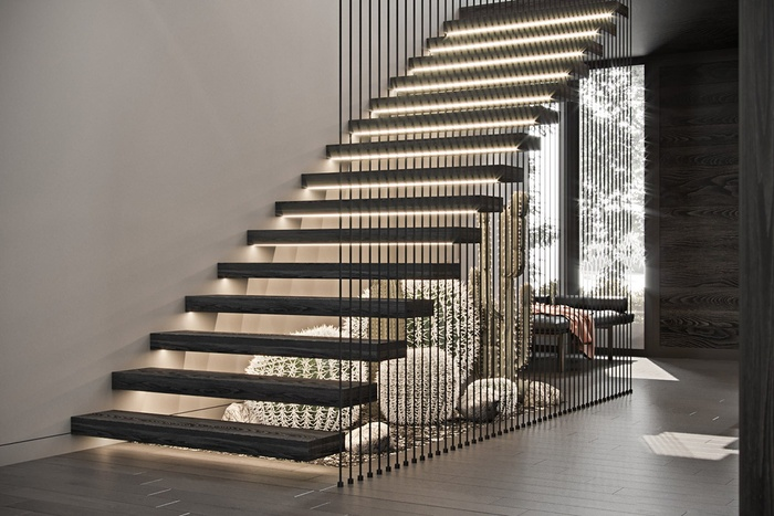Bạn có thể dễ dàng trồng xương rồng ở phía dưới cầu thang như trong ngôi nhà này