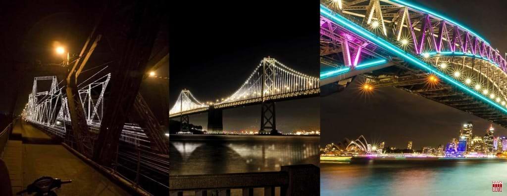 """Đề xuất """"Cầu Long Biên Ngày và Đêm - 2009"""". Cầu Vịnh Oakland-SanFrancisco (Mỹ); Cầu Cảng trong Lễ hội ánh sáng tại Sydney (Australia)."""
