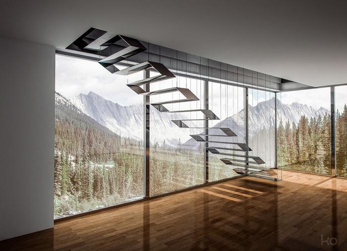 Mẫu cầu thang kim loại này tạo nên vẻ đẹp hiện đại cũng như nhiều khoảng sáng cho không gian nhà bạn