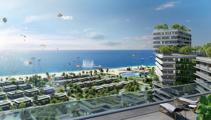 Tọa lạc mặt tiền tuyến đường biển quốc gia (719B) và sở hữu 1,7km bờ biển riêng biệt, Thanh Long Bay có quy mô 90ha với 12 phân khu lớn, mang phong cách kiến trúc độc đáo và khác biệt