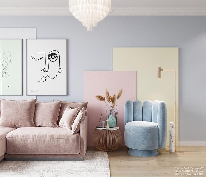 Phòng khách được bố trí nội thất tối giản với những mảng màu cân xứng, phụ trợ cho nhau.