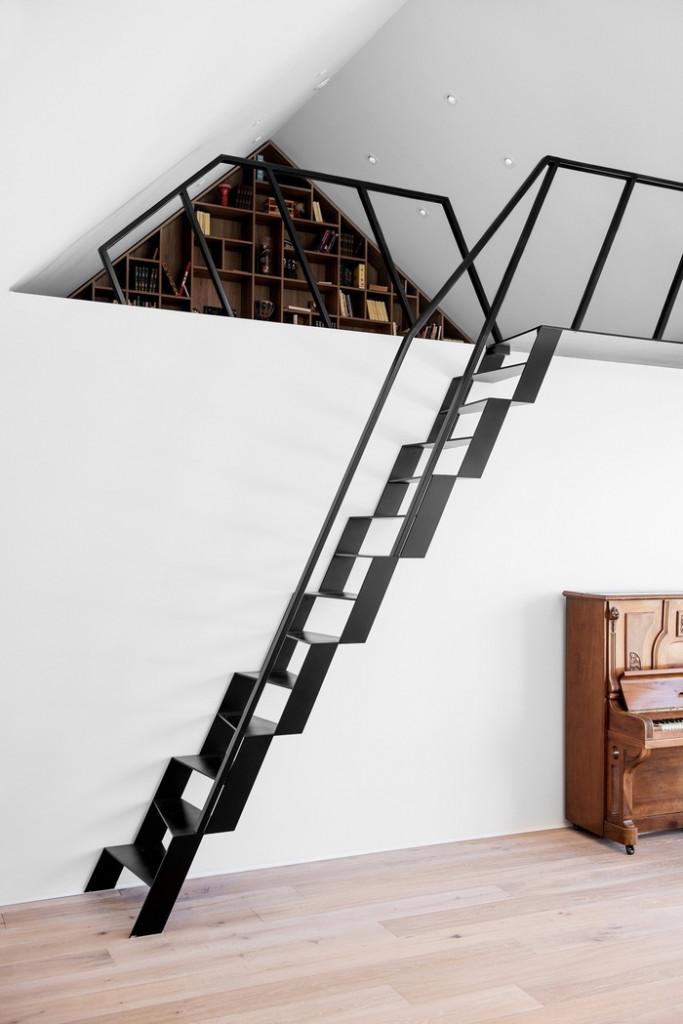 Đây cũng là một trong những mẫu cầu thang được sử dụng trong không gian hạn chế
