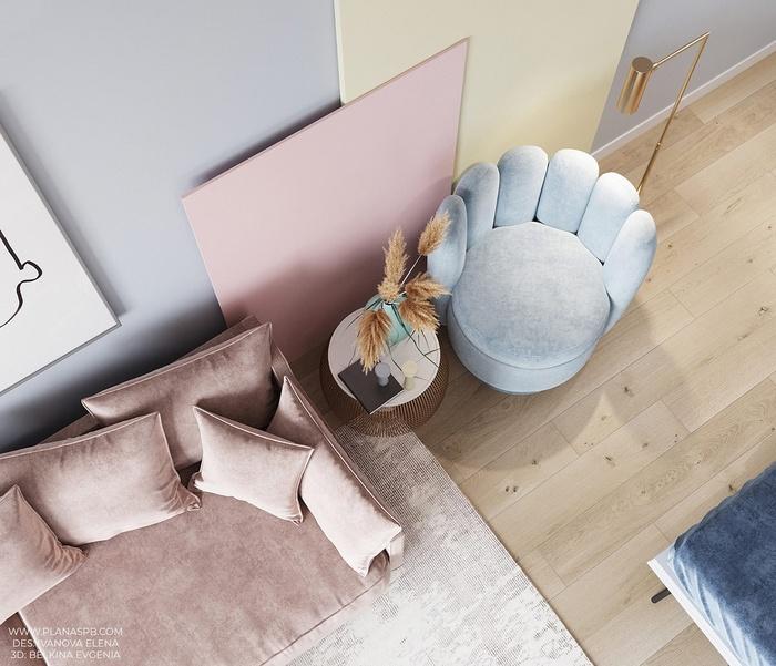Chiếc ghế sofa nhung là món nội thất cực hot trong mùa thu- đông đã được bố trí trong căn hộ này.
