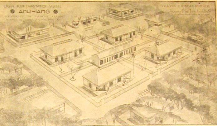 """Bản vẽ phối cảnh khu """" Nhà Ánh sáng """" cho cư dân nghèo Phức Xá do các KTS trường Mỹ Thuật Đông Dương khởi xướng , xây dựng năm 1938"""