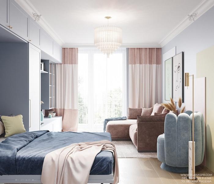 Khi đêm xuống, phòng khách sẽ biến thành một phòng ngủ do diện tích khá rộng, có thể bố trí thêm một chiếc giường gấp.