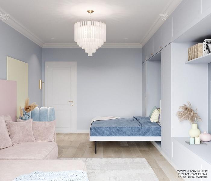 Phòng ngủ chính được bố trí với các gam màu xanh pastel làm chủ đạo.
