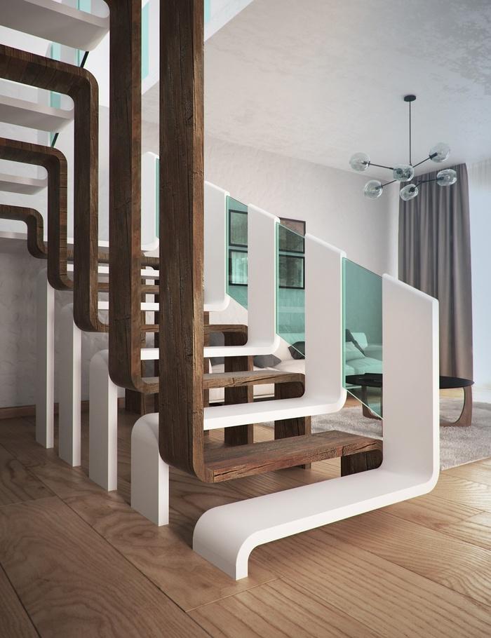 Một mẫu cầu thang đầy nghệ thuật phù hợp với nội thất trong gian phòng hiện đại