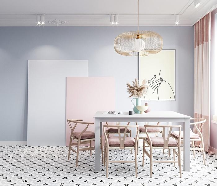 Phòng ăn đẹp như một tác phẩm nghệ thuật với gam màu xám và hồng pastel.