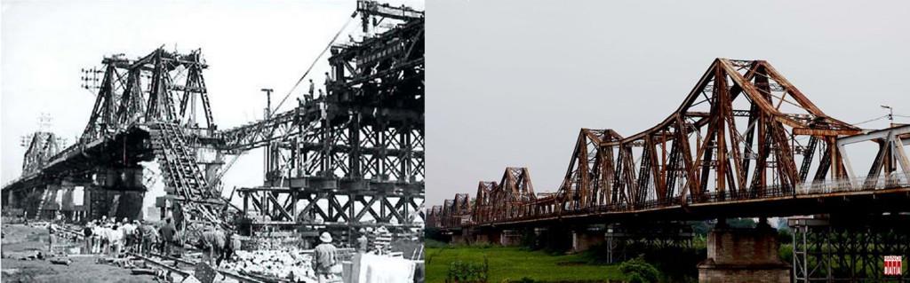 Hư hỏng sau trận bom năm 1967 và đoạn cầu Long Biên còn lành lặn hôm nay
