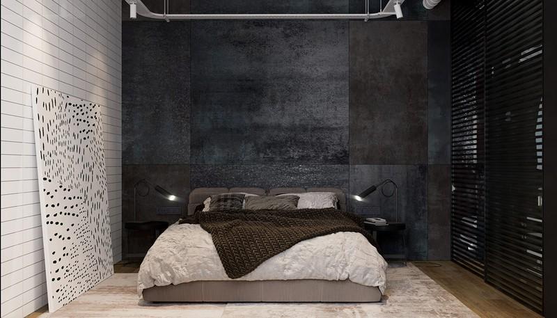 Phòng ngủ sử dụng lối trang trí hai màu đen và trắng đối lập.