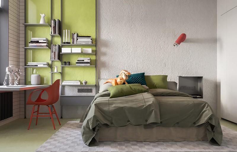 Trong phòng của bé, gam màu xanh lá được bố trí khéo léo ở khu vực cạnh giường mang đến cảm giác trẻ trung và hiện đại.