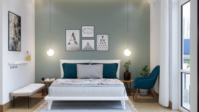 Chiếc ghế màu xanh dương giúp căn phòng trông sinh động hơn nhiều